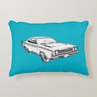 1968 Plymouth Roadrunner Muscle Car Illustration Decorative Pillow
