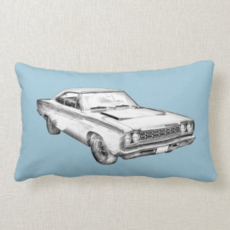 1968 Plymouth Roadrunner Muscle Car Illustration Lumbar Pillow