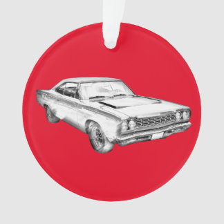 1968 Plymouth Roadrunner Muscle Car Illustration Ornament