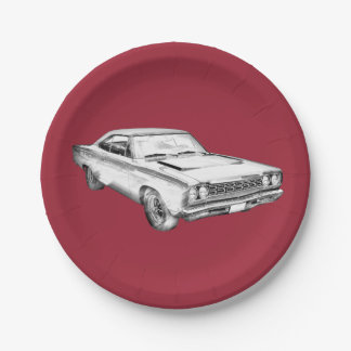 1968 Plymouth Roadrunner Muscle Car Illustration Paper Plate