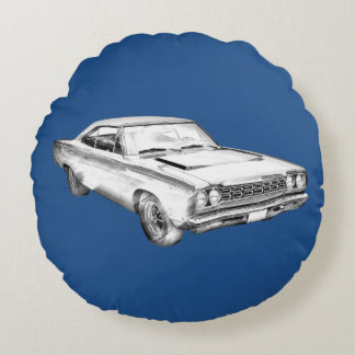 1968 Plymouth Roadrunner Muscle Car Illustration Round Pillow