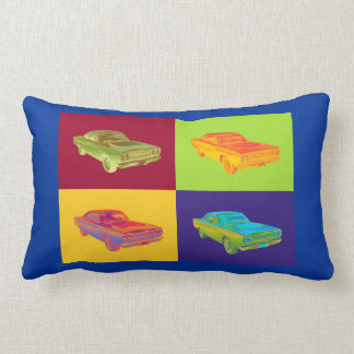 1968 Plymouth Roadrunner Muscle Car Pop Art Lumbar Pillow