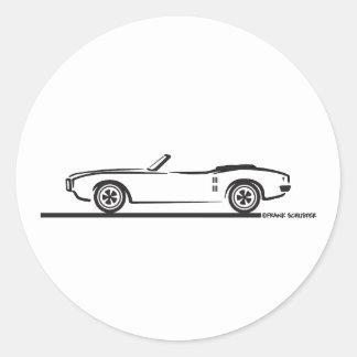 1968 Pontiac Firebird Convertible Classic Round Sticker