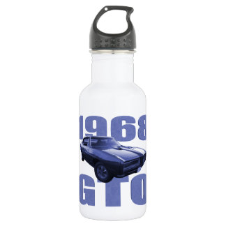 Awesome 1968 Pontiac GTO Blue Stainless Steel Water Bottle