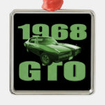 1968 Pontiac GTO Muscle Car Green Square Metal Christmas Ornament