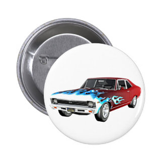 1968 Red White and Blue Muscle Car Button