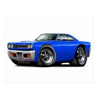 1968 Roadrunner Blue Car Postcard