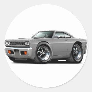 1968 Roadrunner Grey Car Round Sticker