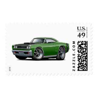 1968 Super Bee Green-Black Hood Car Stamp
