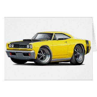 1968 Super Bee Yellow-Black Hood Car Card
