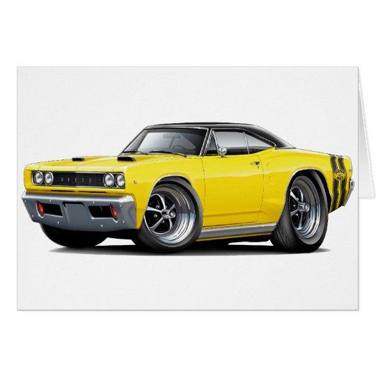 1968 Super Bee Yellow-Black Top Double Stripe Card