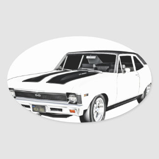1968 White Muscle Car Oval Sticker