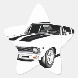 1968 White Muscle Car Star Sticker
