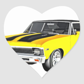 1968 Yellow Muscle Car Heart Sticker