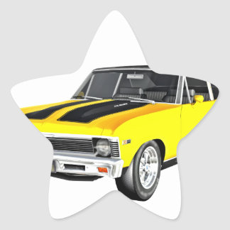 1968 Yellow Muscle Car Star Sticker