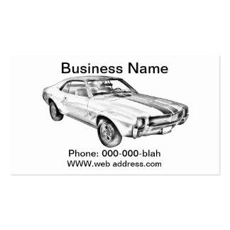1969 AMC Javlin Car Illustration Business Card Templates