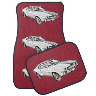 1969 AMC Javlin Car Illustration Car Mat