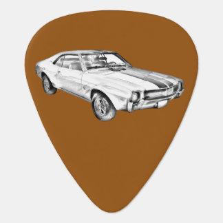 1969 AMC Javlin Car Illustration Guitar Pick