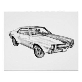 1969 AMC Javlin Car Illustration Poster