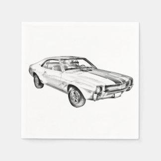 1969 AMC Javlin Car Illustration Disposable Napkins