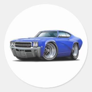 1969 Buick GS Blue Car Round Sticker