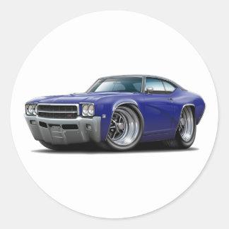 1969 Buick GS Dk Blue-Black Top Car Round Sticker