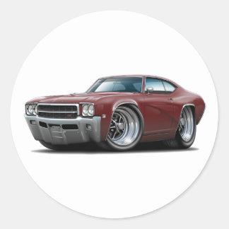 1969 Buick GS Maroon Car Round Sticker