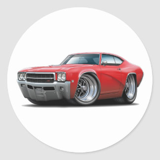 1969 Buick GS Red Car Round Stickers