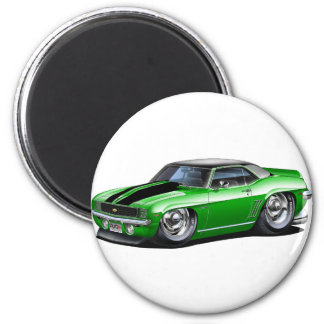 1969 Camaro Green-Black Top Car Magnet