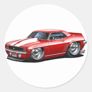1969 Camaro Red-White Car Stickers