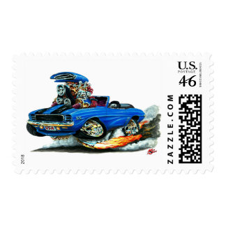 1969 Camaro RS SS Blue-Black Convertible Postage Stamp