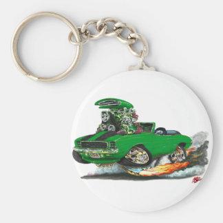 1969 Camaro RS SS Green-Black Convertible Basic Round Button Keychain