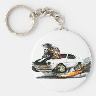 1969 Camaro RS SS White-Black Car Basic Round Button Keychain