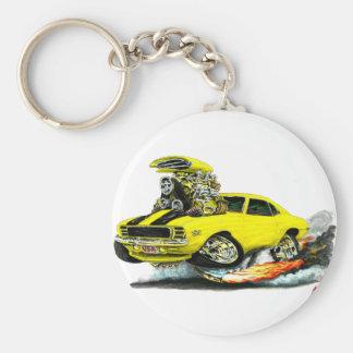 1969 Camaro RS SS Yellow-Black Car Basic Round Button Keychain
