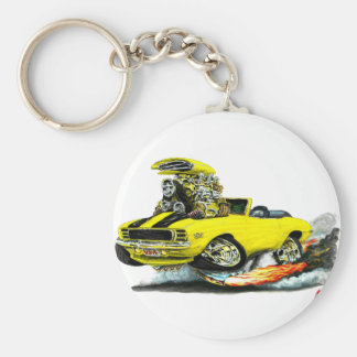 1969 Camaro RS SS Yellow-Black Convertible Basic Round Button Keychain