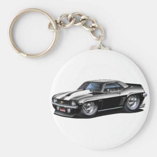 1969 Camaro SS Black-White Car Basic Round Button Keychain