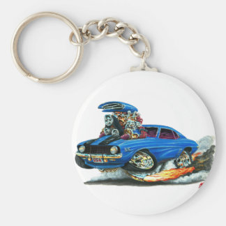 1969 Camaro SS Blue-Black Car Basic Round Button Keychain