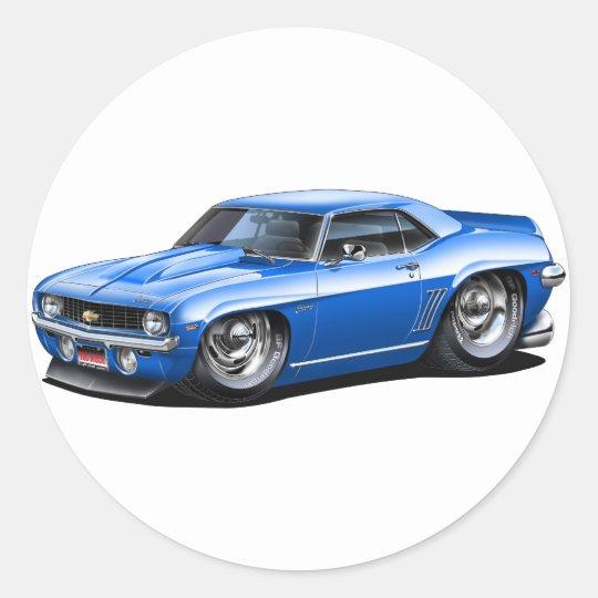 1969 Camaro SS Blue Car Classic Round Sticker