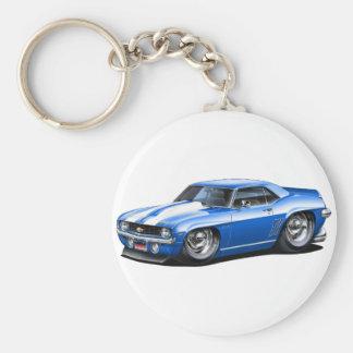 1969 Camaro SS Blue-White Car Basic Round Button Keychain