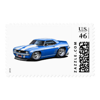 1969 Camaro SS Blue-White Car Postage Stamps
