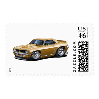 1969 Camaro SS Gold Car Postage Stamps