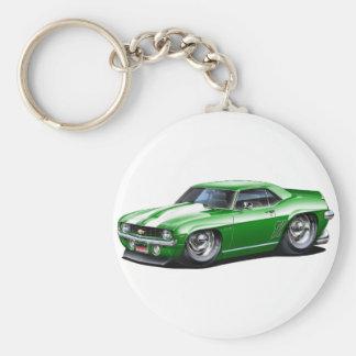 1969 Camaro SS Green-White Car Basic Round Button Keychain