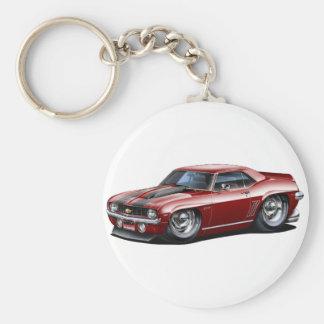 1969 Camaro SS Maroon-Black Car Basic Round Button Keychain