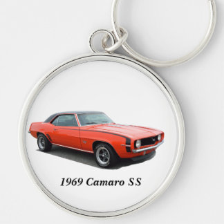 1969 Camaro SS Silver-Colored Round Keychain