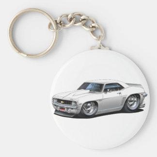 1969 Camaro SS White Car Basic Round Button Keychain