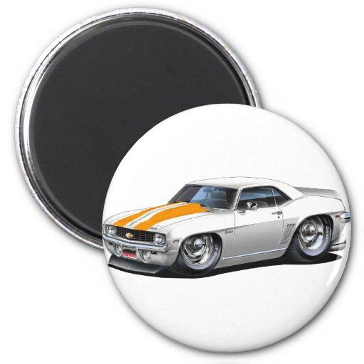1969 Camaro SS White-Orange Car 2 Inch Round Magnet