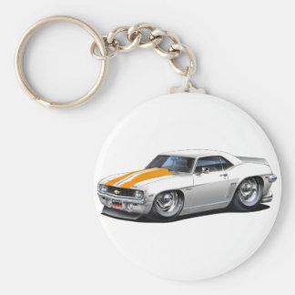 1969 Camaro SS White-Orange Car Basic Round Button Keychain