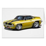 1969 Camaro SS Yellow-Black Top Car Greeting Card