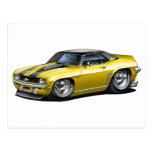 1969 Camaro SS Yellow-Black Top Car Post Card