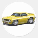 1969 Camaro SS Yellow Car Classic Round Sticker